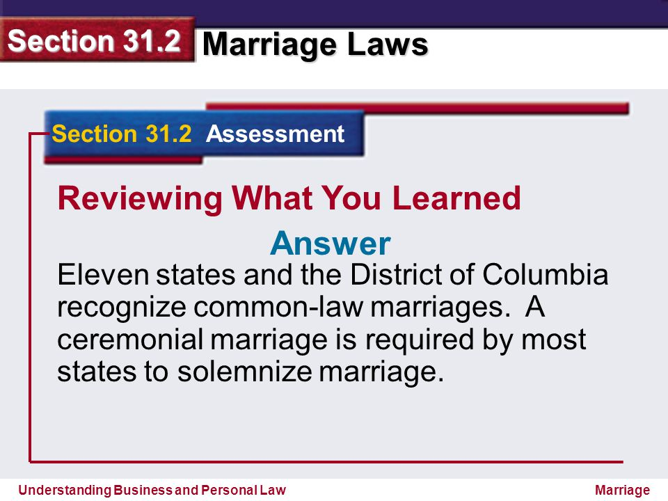 Understanding Business and Personal Law Marriage Laws Section 31.2 Marriage Reviewing What You Learned Eleven states and the District of Columbia reco