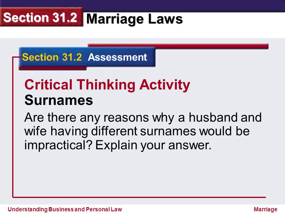 Understanding Business and Personal Law Marriage Laws Section 31.2 Marriage Section 31.2 Assessment Critical Thinking Activity Surnames Are there any