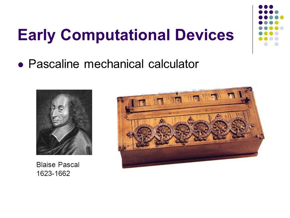 Early Computational Devices Pascaline mechanical calculator Blaise Pascal 1623-1662