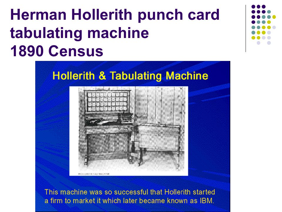 Herman Hollerith punch card tabulating machine 1890 Census