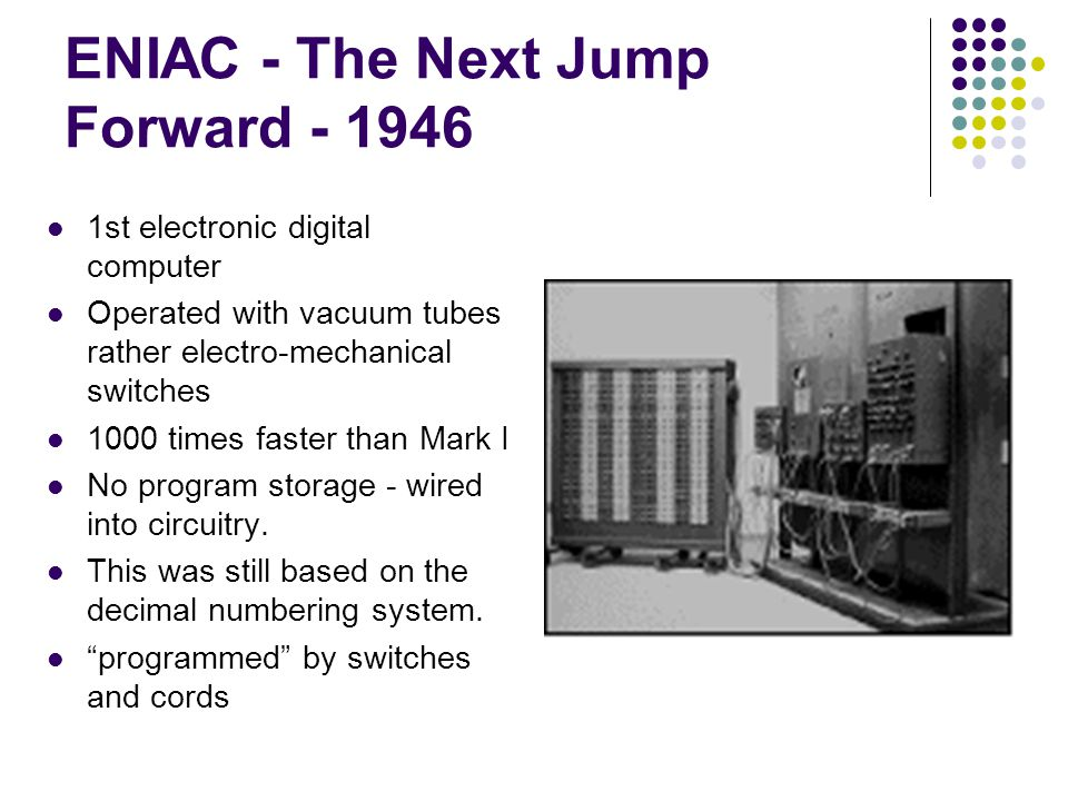 ENIAC - The Next Jump Forward - 1946 1st electronic digital computer Operated with vacuum tubes rather electro-mechanical switches 1000 times faster t