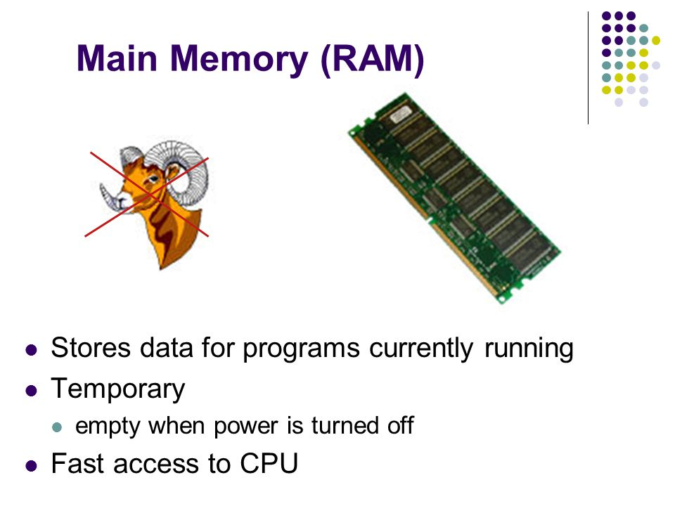 Main Memory (RAM) Stores data for programs currently running Temporary empty when power is turned off Fast access to CPU