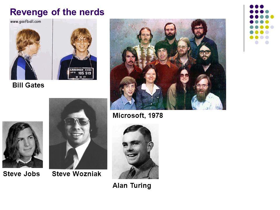 Revenge of the nerds Bill Gates Microsoft, 1978 Steve JobsSteve Wozniak Alan Turing