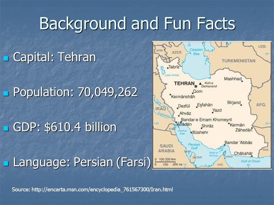 Background and Fun Facts Capital: Tehran Capital: Tehran Population: 70,049,262 Population: 70,049,262 GDP: $610.4 billion GDP: $610.4 billion Language: Persian (Farsi) Language: Persian (Farsi) Source: http://encarta.msn.com/encyclopedia_761567300/Iran.html