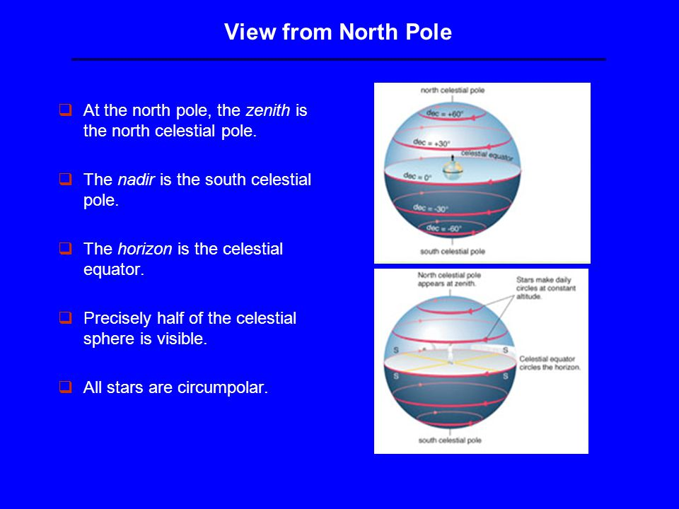 View from North Pole qAt the north pole, the zenith is the north celestial pole.