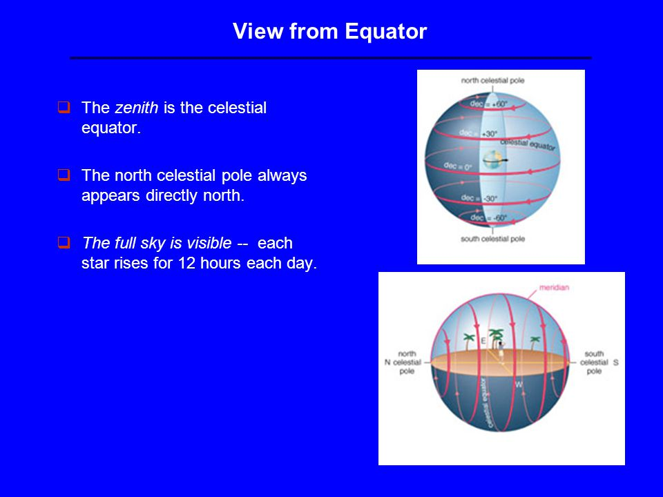 View from Equator qThe zenith is the celestial equator.