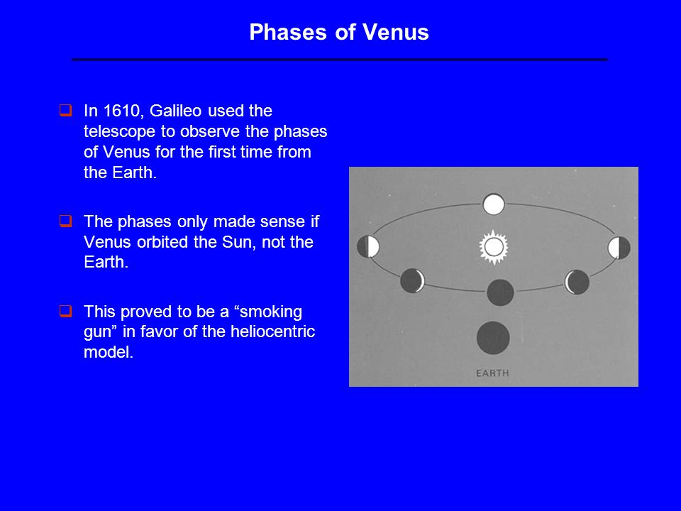 Phases of Venus qIn 1610, Galileo used the telescope to observe the phases of Venus for the first time from the Earth.