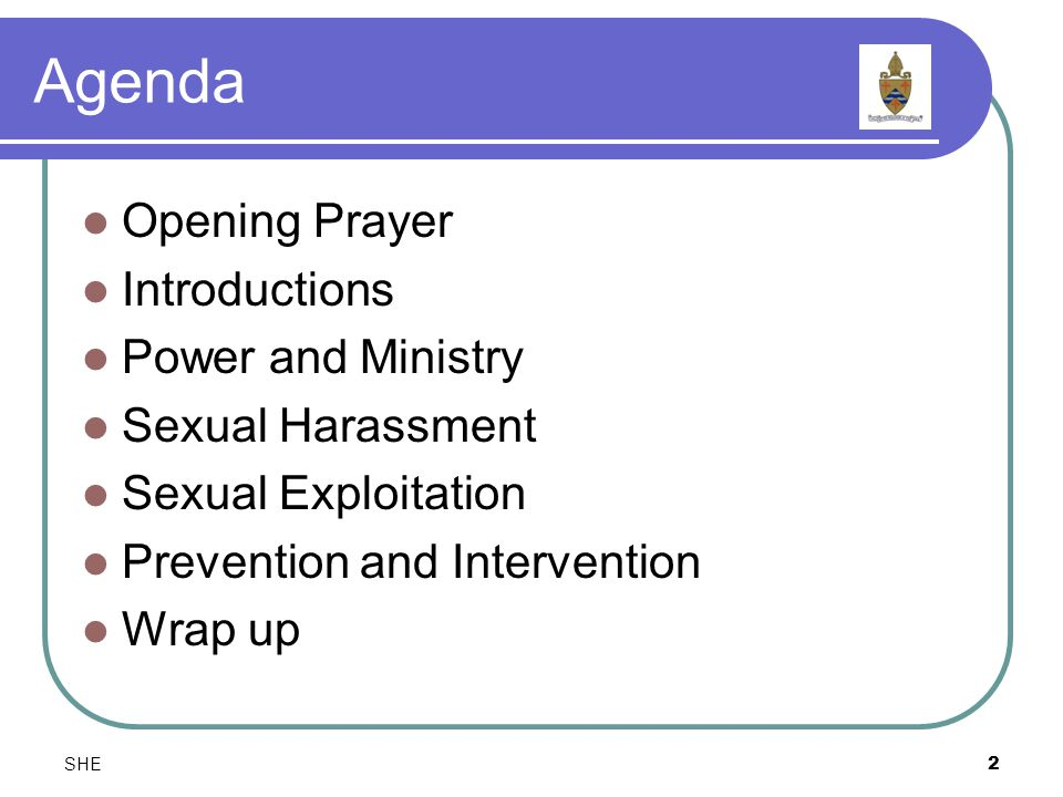 SHE2 Agenda Opening Prayer Introductions Power and Ministry Sexual Harassment Sexual Exploitation Prevention and Intervention Wrap up