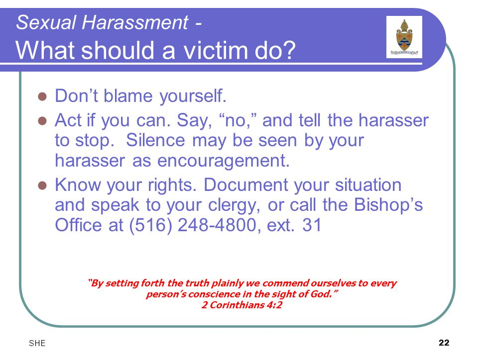 SHE22 Sexual Harassment - What should a victim do.