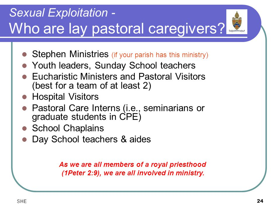 SHE24 Sexual Exploitation - Who are lay pastoral caregivers.