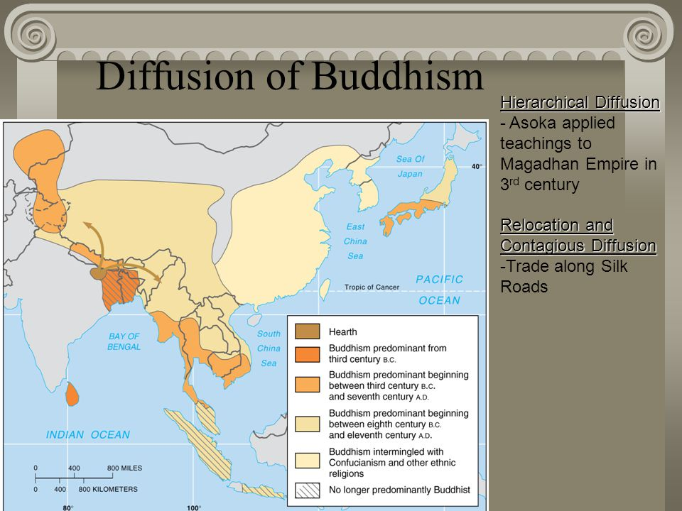 Diffusion of Buddhism Fig. 6-7: Buddhism diffused gradually from its origin in northeastern India to Sri Lanka, southeast Asia, and eventually China a