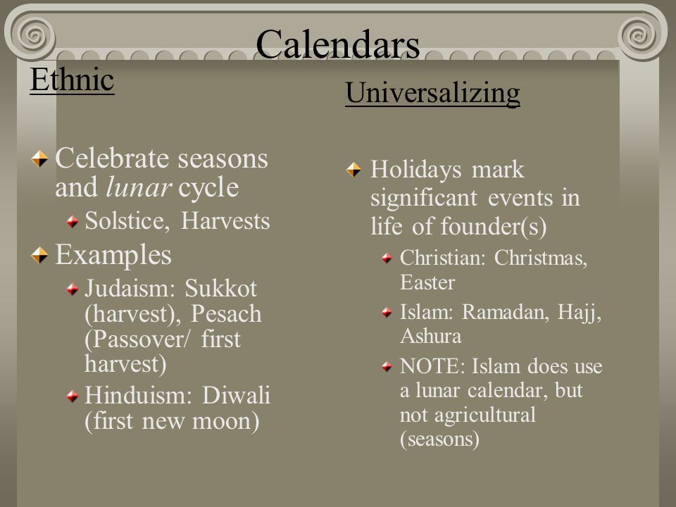 Calendars Ethnic Celebrate seasons and lunar cycle Solstice, Harvests Examples Judaism: Sukkot (harvest), Pesach (Passover/ first harvest) Hinduism: D
