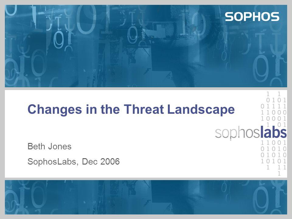 Changes in the Threat Landscape Beth Jones SophosLabs, Dec 2006