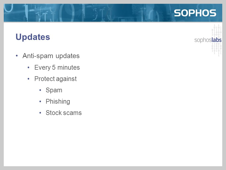 Updates Anti-spam updates Every 5 minutes Protect against Spam Phishing Stock scams