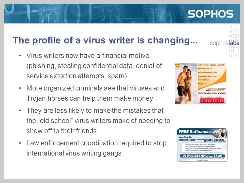 The profile of a virus writer is changing...