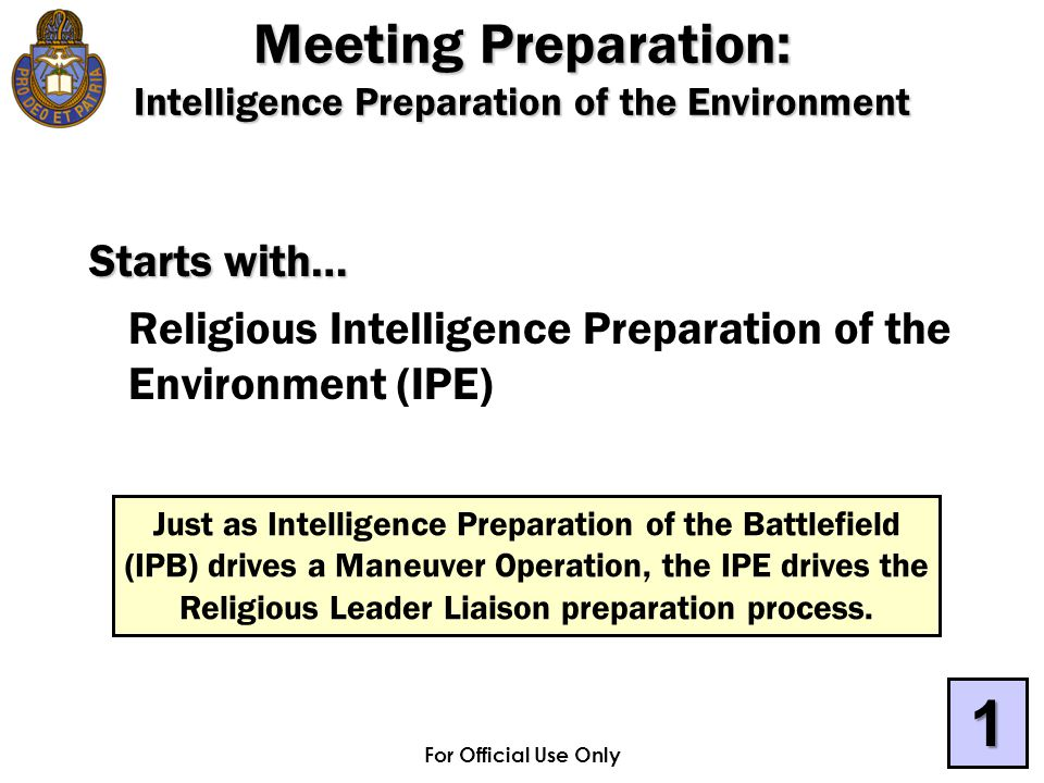 For Official Use Only Starts with… Religious Intelligence Preparation of the Environment (IPE) Just as Intelligence Preparation of the Battlefield (IP