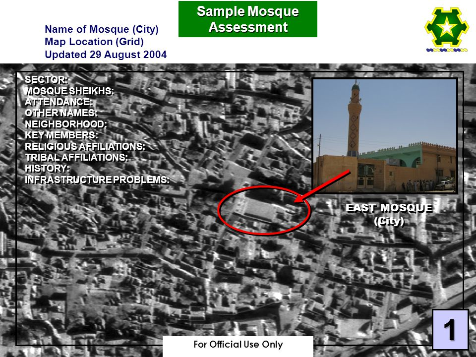 EAST MOSQUE (City) EAST MOSQUE (City) SECTOR: MOSQUE SHEIKHS: ATTENDANCE: OTHER NAMES: NEIGHBORHOOD: KEY MEMBERS: RELIGIOUS AFFILIATIONS: TRIBAL AFFILIATIONS: HISTORY: INFRASTRUCTURE PROBLEMS: SECTOR: MOSQUE SHEIKHS: ATTENDANCE: OTHER NAMES: NEIGHBORHOOD: KEY MEMBERS: RELIGIOUS AFFILIATIONS: TRIBAL AFFILIATIONS: HISTORY: INFRASTRUCTURE PROBLEMS: Sample Mosque Assessment Name of Mosque (City) Map Location (Grid) Updated 29 August 2004 1 For Official Use Only