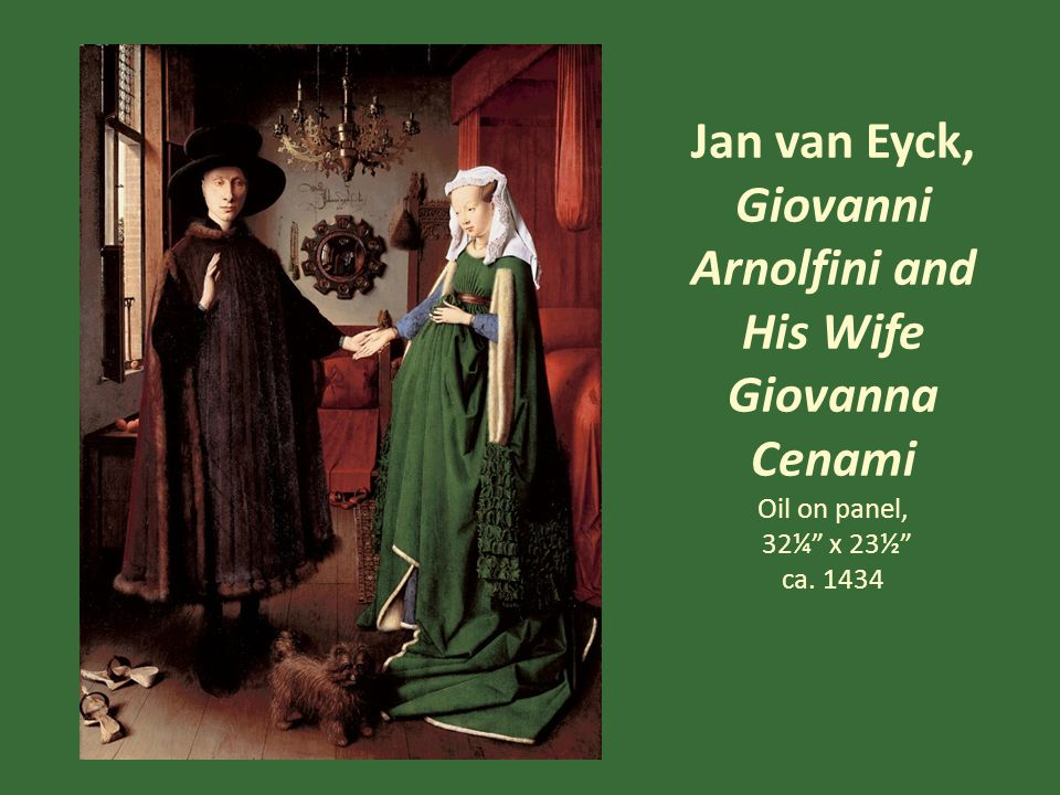 Jan van Eyck, Giovanni Arnolfini and His Wife Giovanna Cenami Detail Each of the ten small circles around the mirror contains a scene of Christ's passion Van Eyck presents his love of detail, the hallmark that distinguishes Northern Renaissance painting most from painting in the South, through a smooth surface that does not show brushstrokes