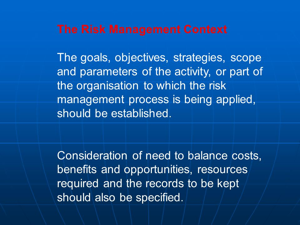 The Risk Management Context The goals, objectives, strategies, scope and parameters of the activity, or part of the organisation to which the risk management process is being applied, should be established.