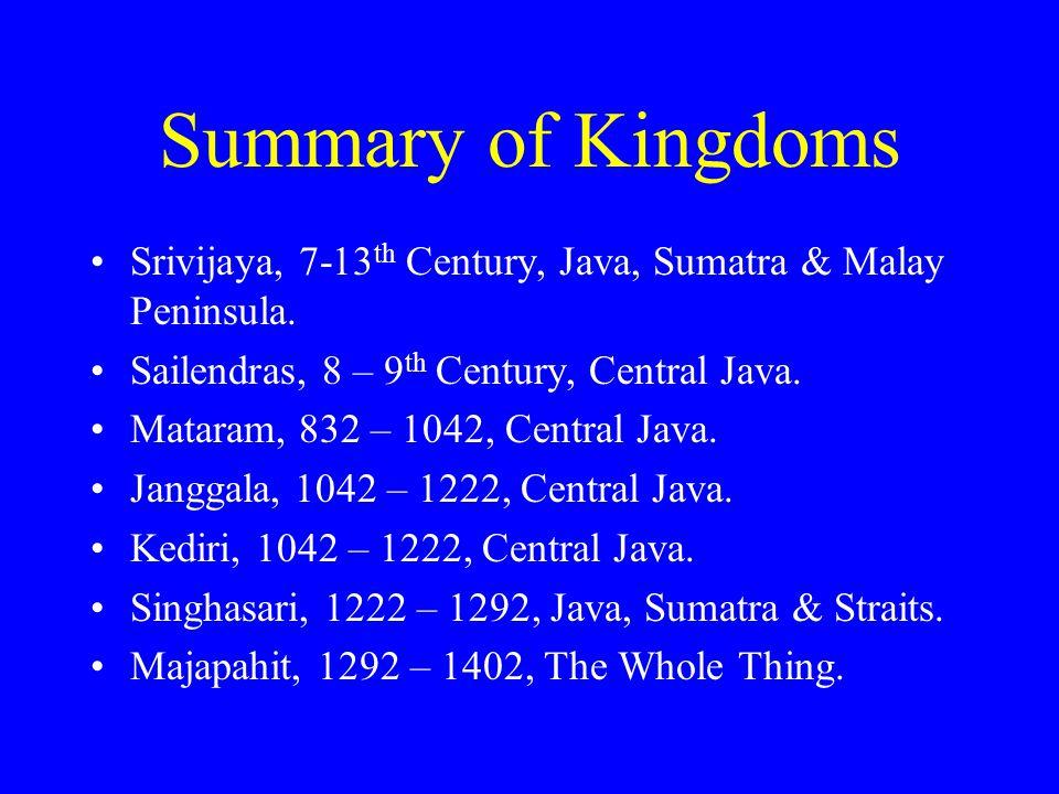 Summary of Kingdoms Srivijaya, 7-13 th Century, Java, Sumatra & Malay Peninsula. Sailendras, 8 – 9 th Century, Central Java. Mataram, 832 – 1042, Cent