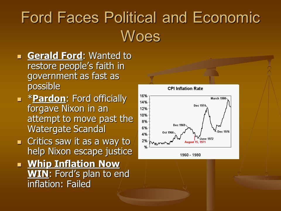 Ford Faces Political and Economic Woes Gerald Ford: Wanted to restore people's faith in government as fast as possible Gerald Ford: Wanted to restore