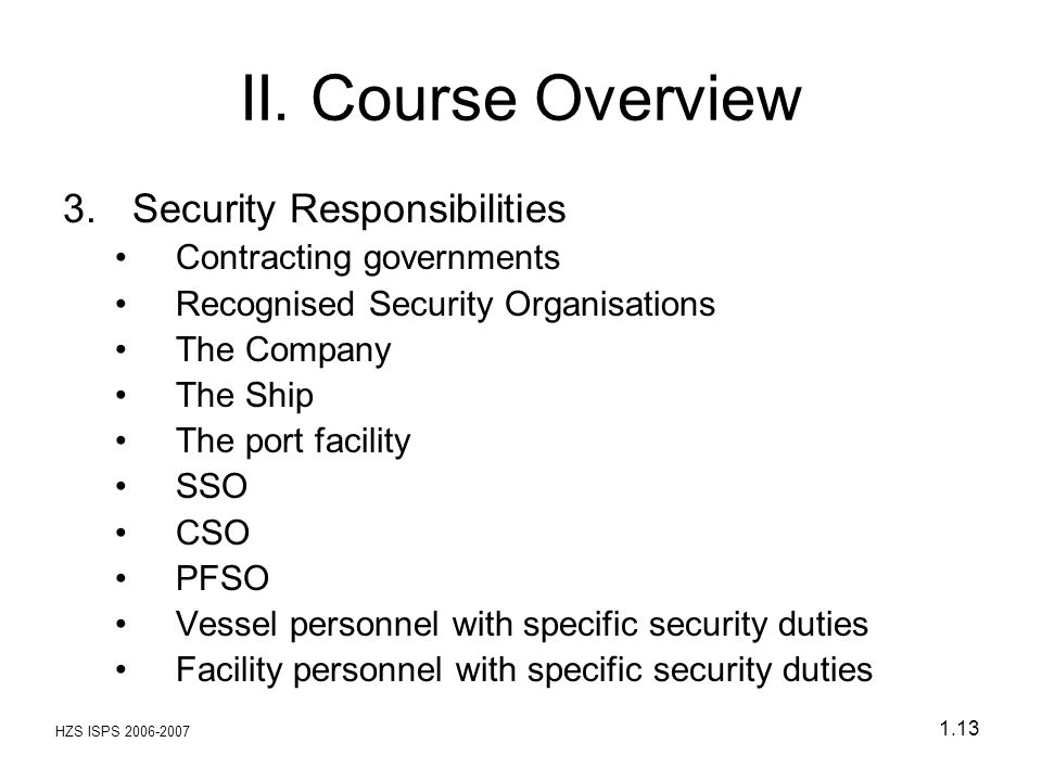 HZS ISPS 2006-2007 1.13 II. Course Overview 3.Security Responsibilities Contracting governments Recognised Security Organisations The Company The Ship