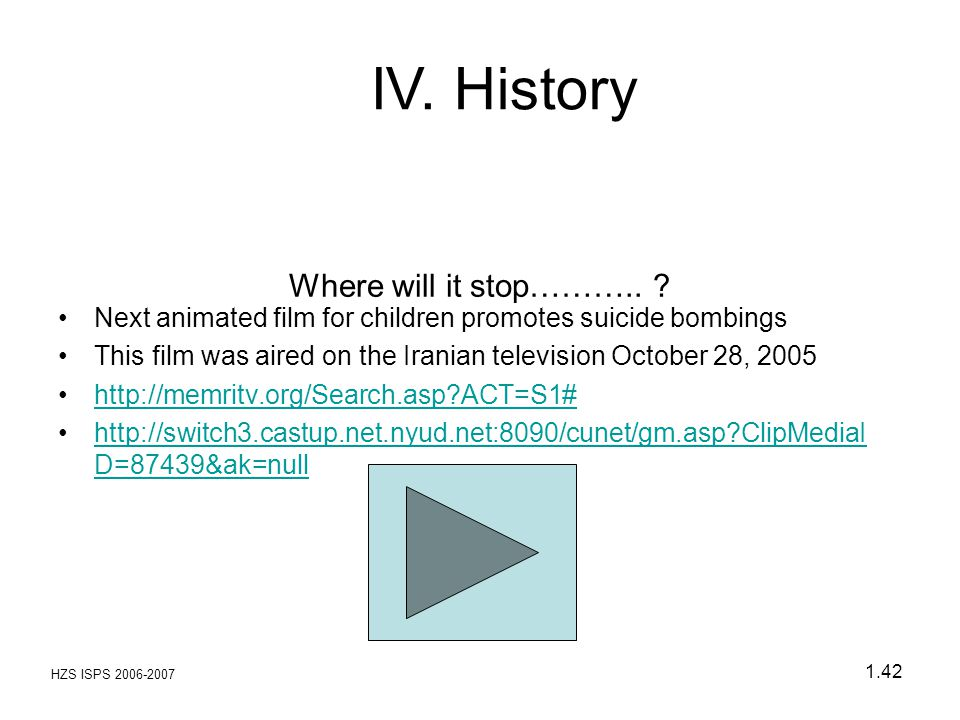 HZS ISPS 2006-2007 1.42 Where will it stop……….. ? Next animated film for children promotes suicide bombings This film was aired on the Iranian televis