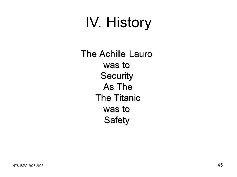 HZS ISPS 2006-2007 1.45 The Achille Lauro was to Security As The The Titanic was to Safety IV. History