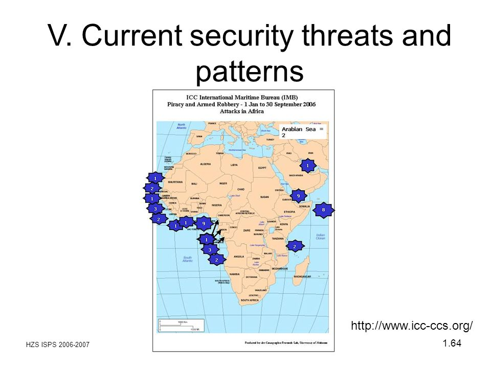 HZS ISPS 2006-2007 1.64 V. Current security threats and patterns http://www.icc-ccs.org/