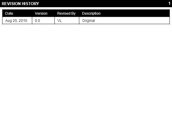 1 REVISION HISTORY DateVersionRevised ByDescription Aug 25, 20100.0VLOriginal