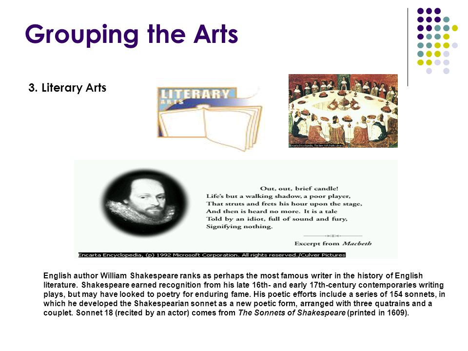 Grouping the Arts 3. Literary Arts English author William Shakespeare ranks as perhaps the most famous writer in the history of English literature. Sh