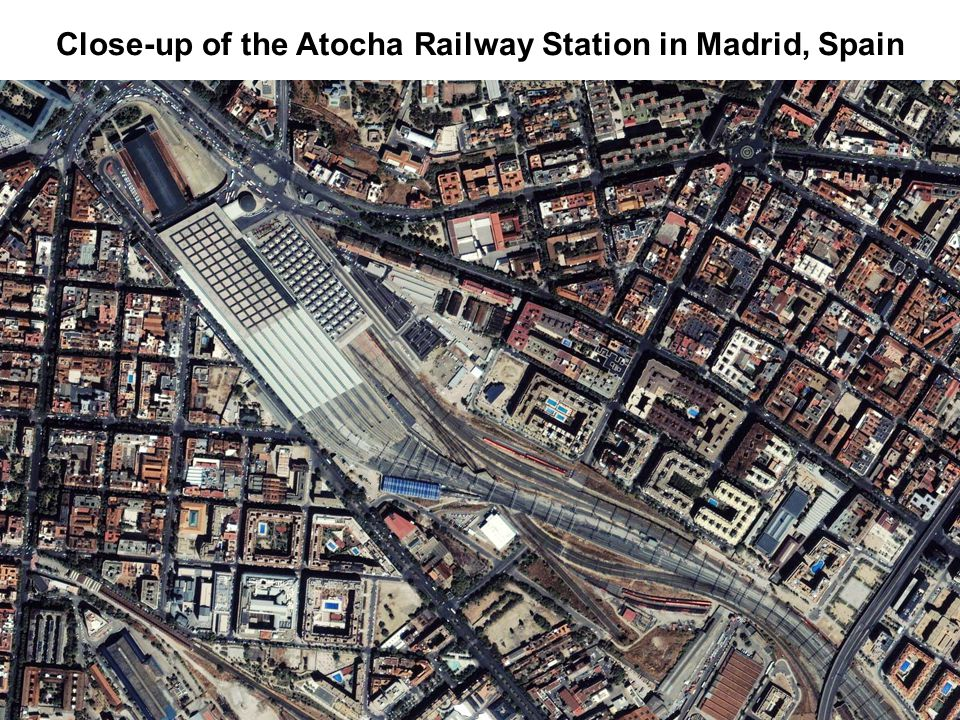 Close-up of the Atocha Railway Station in Madrid, Spain