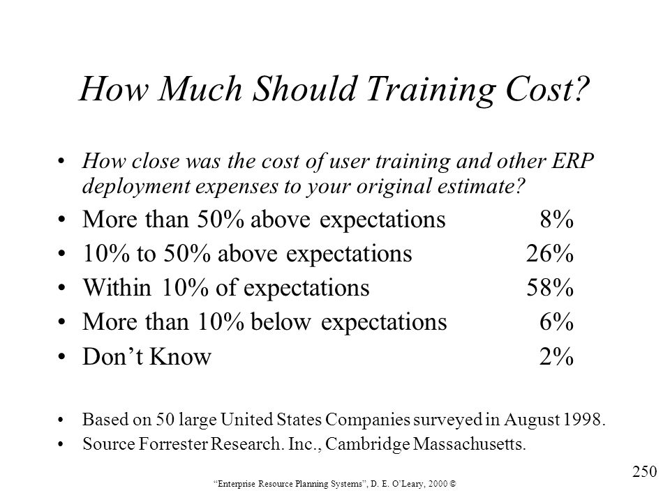 """250 """"Enterprise Resource Planning Systems"""", D. E. O'Leary, 2000 © How Much Should Training Cost? How close was the cost of user training and other ERP"""