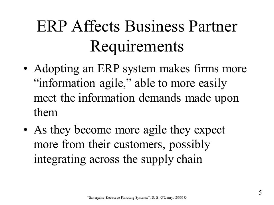 286 Enterprise Resource Planning Systems , D.E.