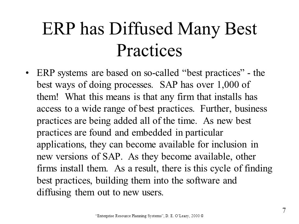 8 Enterprise Resource Planning Systems , D.E.
