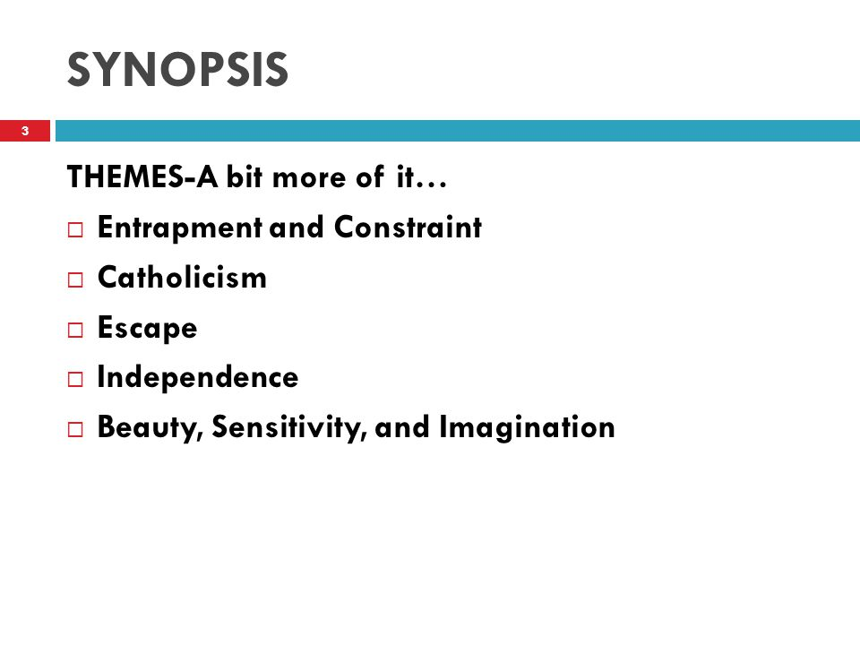SYNOPSIS THEMES-A bit more of it…  Entrapment and Constraint  Catholicism  Escape  Independence  Beauty, Sensitivity, and Imagination 3