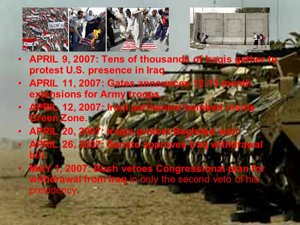 APRIL 9, 2007: Tens of thousands of Iraqis gather to protest U.S.