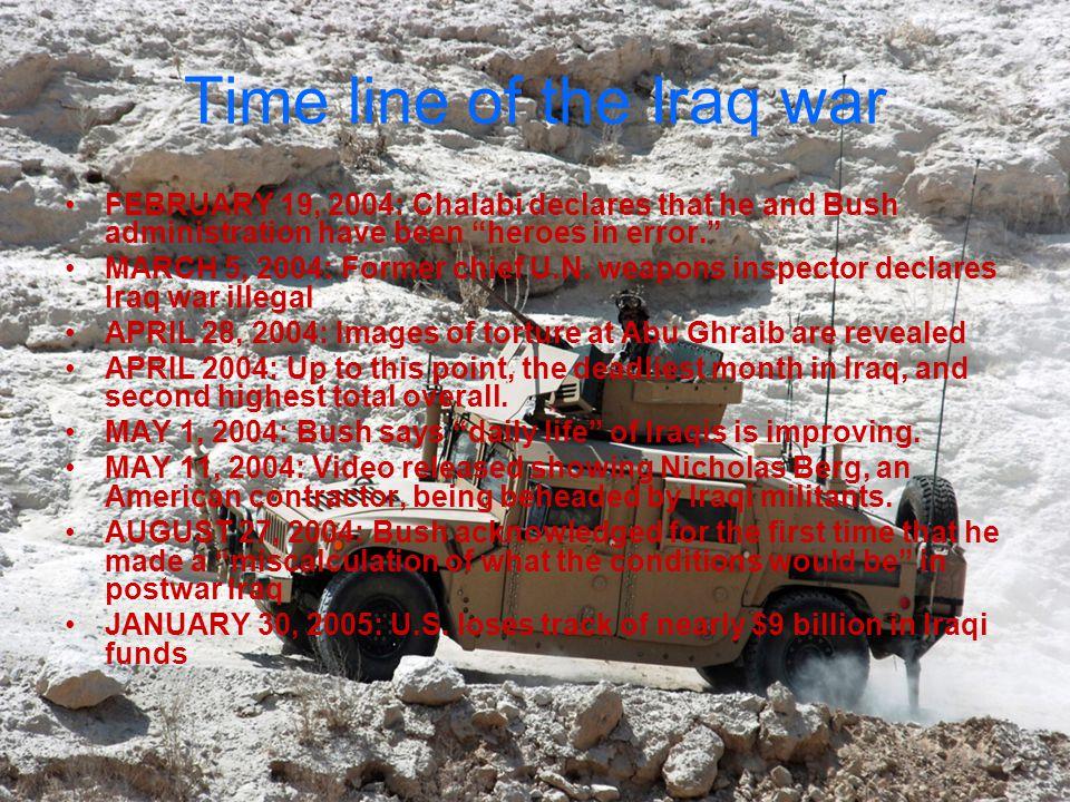 Time line of the Iraq war NOVEMBER 18, 2005: Rep.John Murtha (D-PA) calls for U.S.