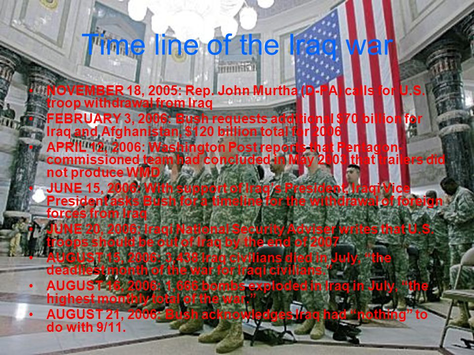 Time line of the Iraq war SEPTEMBER 24, 2006: President Bush describes Iraq violence as just a comma in history.