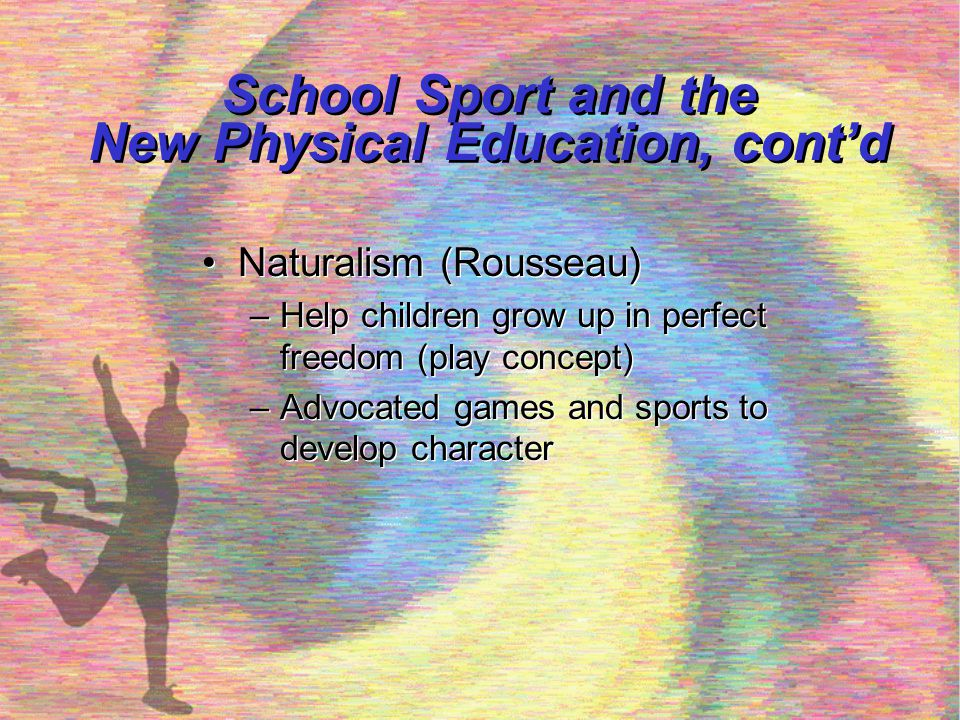 Philosophical Forces in Sport, Fitness, and Physical Education Since 1950 Human movement philosophy (Rudolph Laban) Humanistic philosophies in the 1960-70's Play education (Siedentop, 1972, 1976, 1980) Sport education (Siedentop et al., 1986) Experiential and adventure education Fitness renaissance and the wellness movement Human movement philosophy (Rudolph Laban) Humanistic philosophies in the 1960-70's Play education (Siedentop, 1972, 1976, 1980) Sport education (Siedentop et al., 1986) Experiential and adventure education Fitness renaissance and the wellness movement