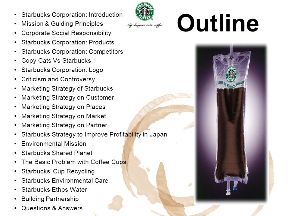 Outline Starbucks Corporation: Introduction Mission & Guiding Principles Corporate Social Responsibility Starbucks Corporation: Products Starbucks Cor