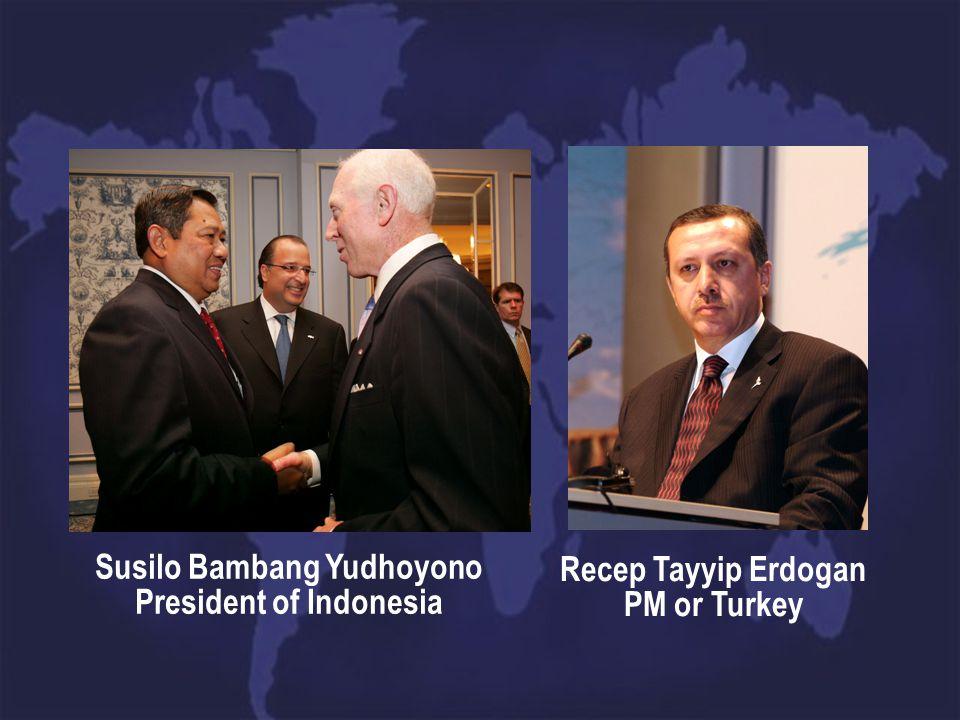 Susilo Bambang Yudhoyono President of Indonesia Recep Tayyip Erdogan PM or Turkey