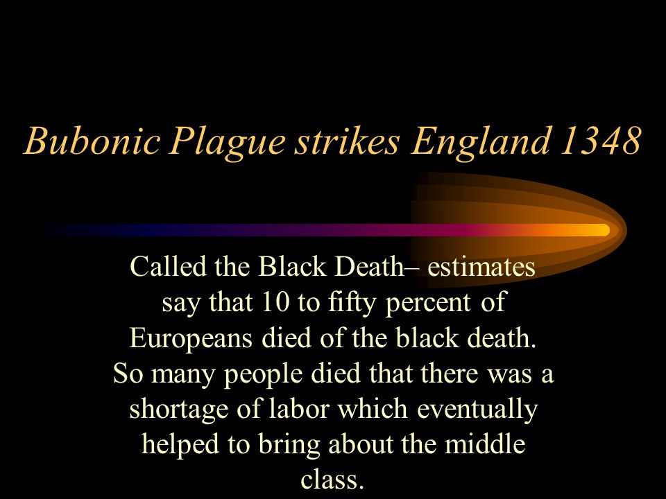 Bubonic Plague strikes England 1348 Called the Black Death– estimates say that 10 to fifty percent of Europeans died of the black death. So many peopl