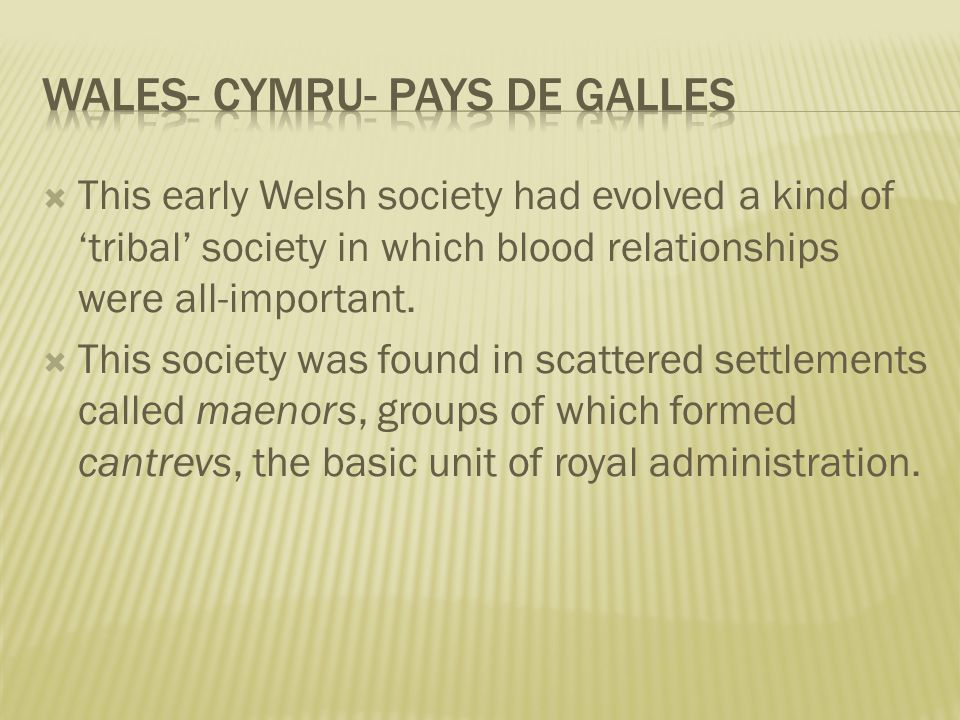  This early Welsh society had evolved a kind of 'tribal' society in which blood relationships were all-important.