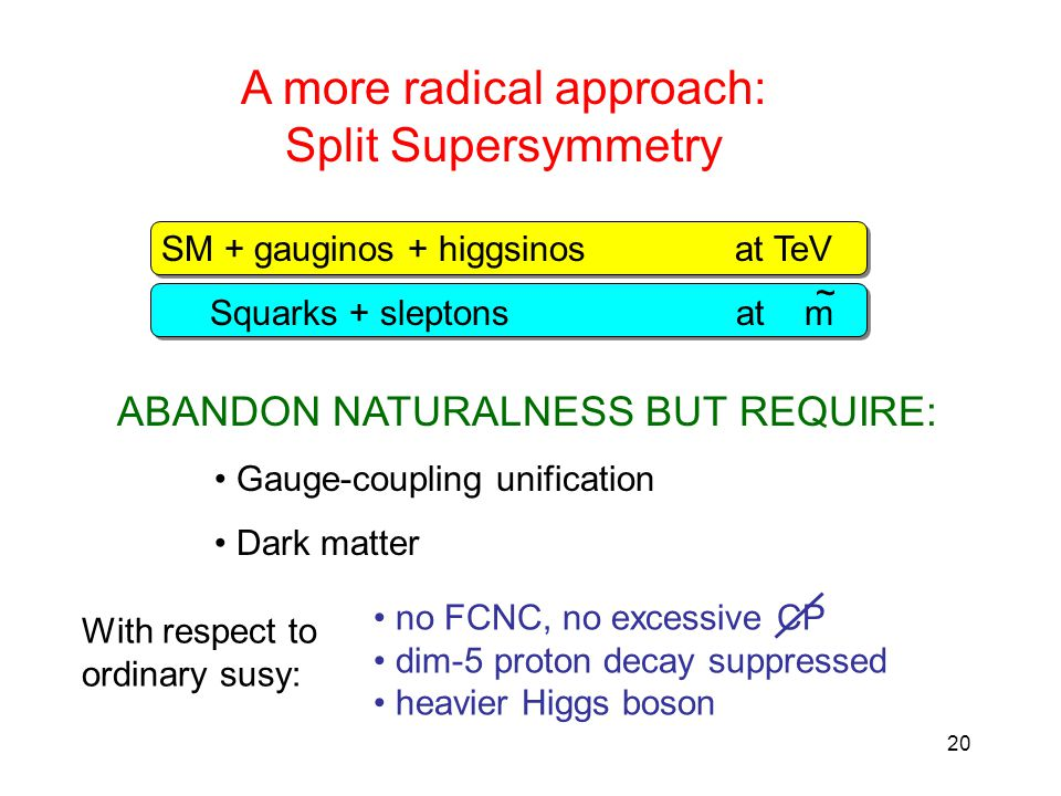 20 A more radical approach: Split Supersymmetry SM + gauginos + higgsinos at TeV Squarks + sleptons at m ~ ABANDON NATURALNESS BUT REQUIRE: Gauge-coupling unification Dark matter no FCNC, no excessive CP dim-5 proton decay suppressed heavier Higgs boson With respect to ordinary susy: