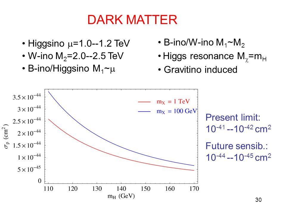 30 DARK MATTER Higgsino  =1.0--1.2 TeV W-ino M 2 =2.0--2.5 TeV B-ino/Higgsino M 1 ~  B-ino/W-ino M 1 ~M 2 Higgs resonance M  =m H Gravitino induced Present limit: 10 -41 --10 -42 cm 2 Future sensib.: 10 -44 --10 -45 cm 2