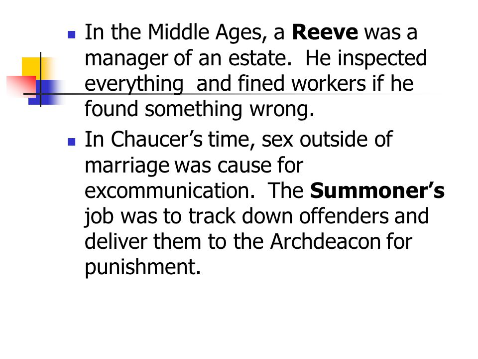 In the Middle Ages, a Reeve was a manager of an estate.