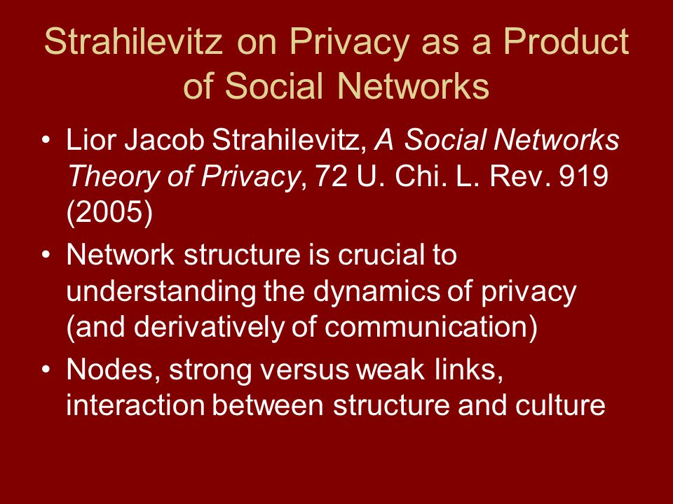 Key Variables Affecting Social Networks Salience of information –Scandalous or valuable versus boring Connectedness of nodes –Some are supernodes ; others are recluses Conductivity of nodes –What is the probability that a node will communicate new information.