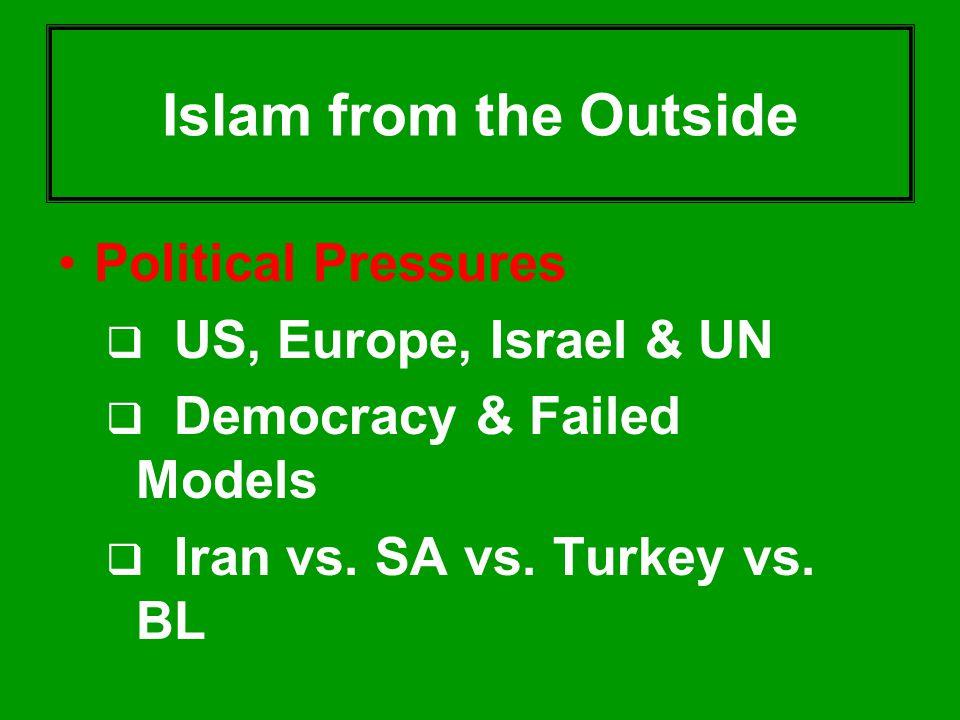 Islam from the Outside Political Pressures  US, Europe, Israel & UN  Democracy & Failed Models  Iran vs. SA vs. Turkey vs. BL