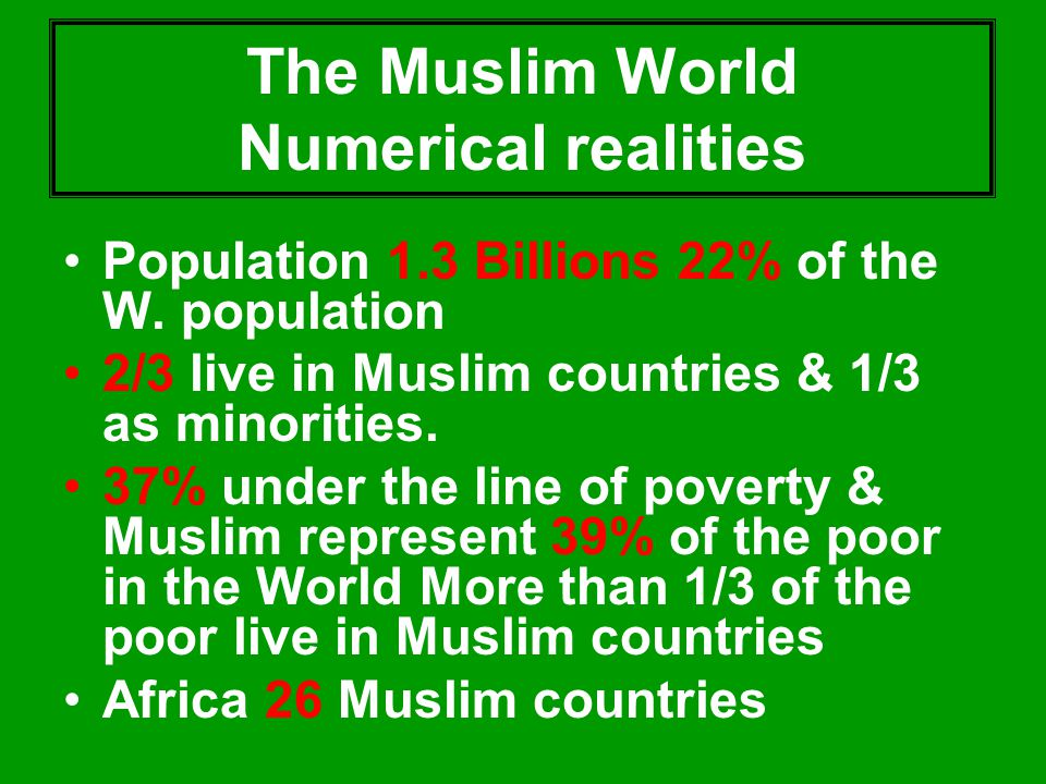 The Muslim World Numerical realities Population 1.3 Billions 22% of the W. population 2/3 live in Muslim countries & 1/3 as minorities. 37% under the